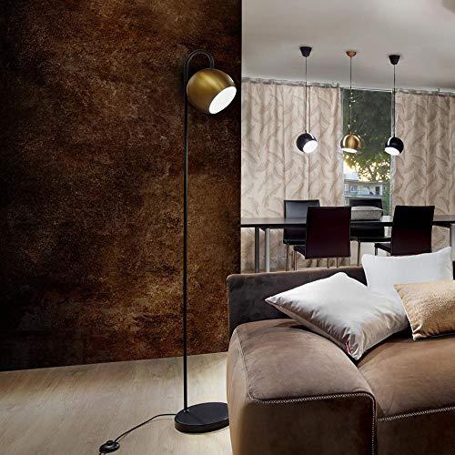 s.LUCE Ball Stehleuchte schwarzer Marmor 170cm Stehlampe Wohnzimmerlampe, Farbe:Gold