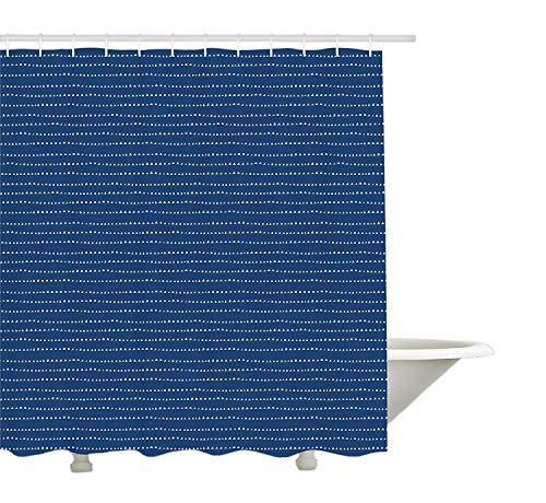 Yeuss Blau & Elfenbein Duschvorhang,Aquarell Triangel Drippings Muster orientalische japanische Motive,Stoff Stoff Badezimmer Dekor Set mit Haken,Violett Blau & Elfenbein