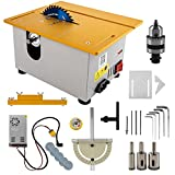 300W Mini Precision Table Saw with Miter Gauge, 885 Motor Multifunctional DIY Woodworking Cutting Machine,Lathe Electric Polisher Grinder for Wooden Model Crafts,Cutting Polishing Carving Punching