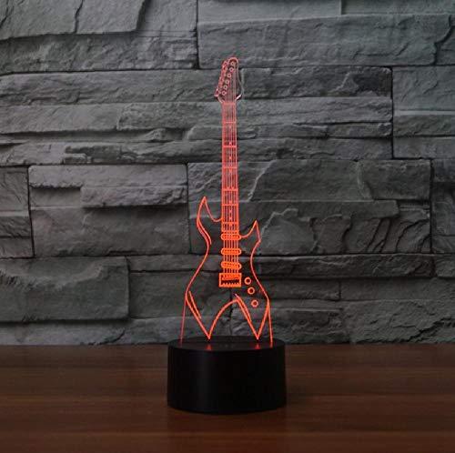3D-led-flitser, nachtlampje, super cool, elektrische gitaar, model, kleurrijk, USB-kabel, power lamp, kerstcadeau, wooncultuur, app, mobiele telefoon, bluetooth, afstandsbediening, kleur oogbescherming, energiebesparende tafellamp