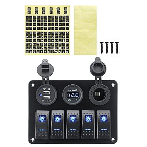 5 Panel de interruptores de Gang L & EDRocker, Puertos USB Digital Voltmeter Dual, COMBINACIÓN DE COMBINERA DE 12 V COMBINADORES Abajo, Ampliamente Utilizado en Mantenimiento Industria