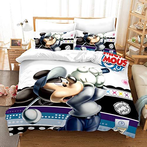Juego De Cama Disney Mickey Minnie Mouse Temática 3 Piezas con Funda Nórdica 3D,Poliéster Funda De Edredón con Cremallera,Adecuado para Niños, Niñas (A3,155 x 220 cm-Cama 90cm)
