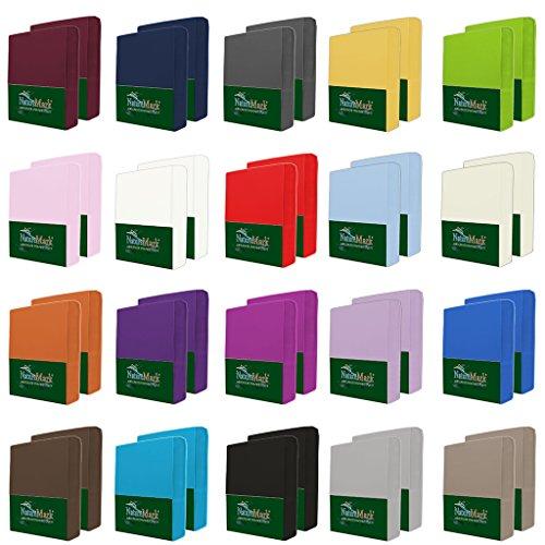 NatureMark 2er Pack MICROFASER Spannbettlaken, Spannbetttuch Doppelpack in vielen Größen und Farben MARKENQUALITÄT ÖKOTEX Standard 100 | 90 x 200 cm - 100 x 200 cm - Silber grau