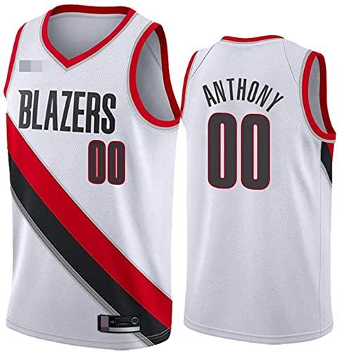 Ropa Camisetas de baloncesto para hombres, NBA Portland Trail Blazers # 00 Carmelo Anthony, Comfort Classic Comfort Chalecos transpirables Camiseta Uniformes deportivos Tops, Blanco, XXL (185 ~ 195cm)
