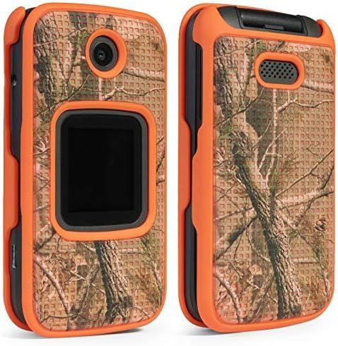 Case for Alcatel Smartflip/Go Flip 3, Nakedcellphone [Orange Camouflage] Tree Leaf Real Woods Camo Protective Snap-On Cover for Alcatel Go Flip 3, Alcatel Smartflip Phone (2019) 4052R/4052C/4052W