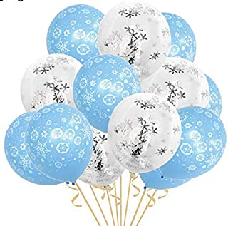 20 pcs Frozen Birthday Decorations Happy Birthday Snowflake Balloons for Christmas Frozen Winter Theme Party Supplies Kids...
