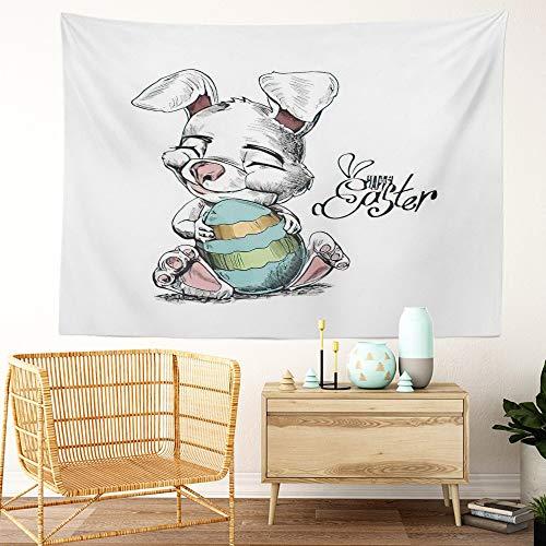 Y·JIANG Tapiz de dibujos animados, conejito de Pascua y huevos de boceto para el hogar, tapiz grande decorativo, manta ancha para colgar en la pared para sala de estar, dormitorio, 80 x 60 pulgadas