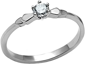 1000 Jewels Posie: 0.20ct Brilliant-Cut Russian Ice on Fire CZ Petite Engagement Ring 316 Steel, 3257A