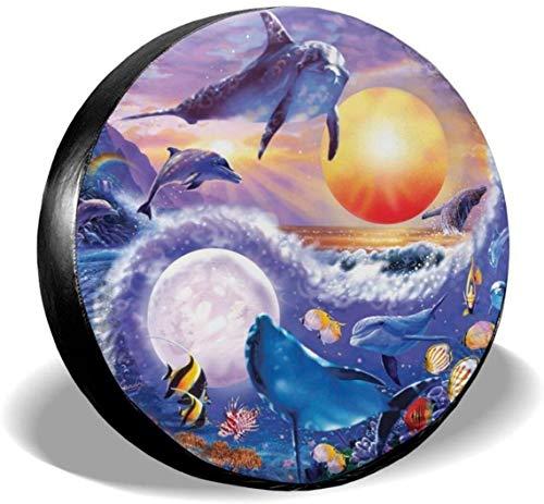 MODORSAN Dolphin Animales Marinos Cubierta de neumático de Rueda de Repuesto de poliéster Cubiertas de Rueda universales para Jeep, Remolque, RV, SUV, camión, Accesorios, 17 Pulgadas