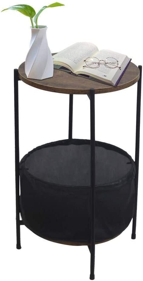 FRITHJILL NEW Round Side Table with Storage Reservation Fabric Industria Basket