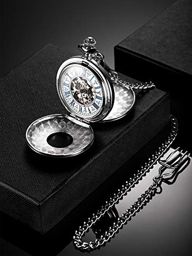 Reloj de Bolsillo Mecánico de Hombres de Esqueleto de Acero de Windup de Doble...