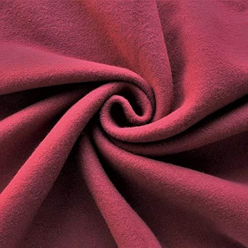 STOFFKONTOR Baumwolle Fleece Stoff Season Classic - Öko-Tex Standard 100 - Meterware, weinrot - zum Nähen von Bekleidung, Decken, Dekoration, zum Basteln UVM.