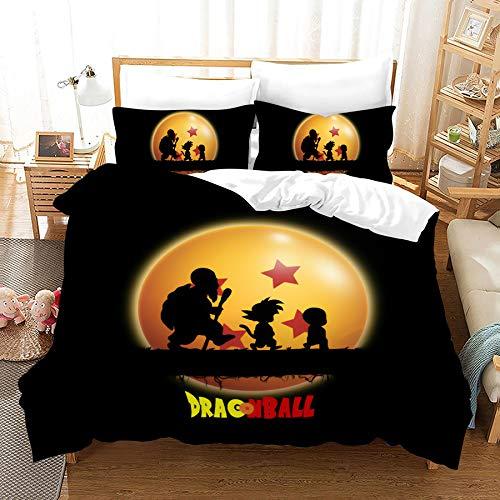 SSLLC 3D Dragonball Z Goku - Juego de funda de edredón y funda de almohada con impresión digital, microfibra, juego de cama de 3 piezas para niños (A2, doble 200 x 200 cm)