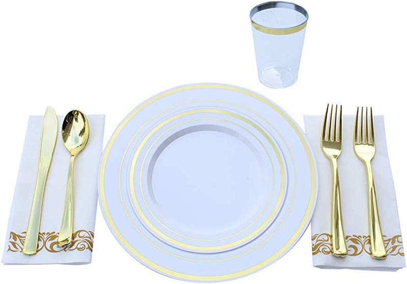 Laurel 175 Piece Gold Trim Plastic Plates With Gold Silverware Disposable Plastic Dinner Set 25 Dinner Plates 25 Dessert Plates 25 Forks 25 Knives 25 Spoons 10oz Cups And 25 Linen Napkins