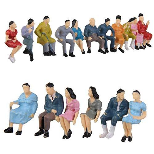 HUANGA 30 Pz Ho Scala 1:87 Persone Sedute Modello Seduto Figure Seduto Posa Modello Treno Park Street Passeggero Figure Decorazione Stile Casuale