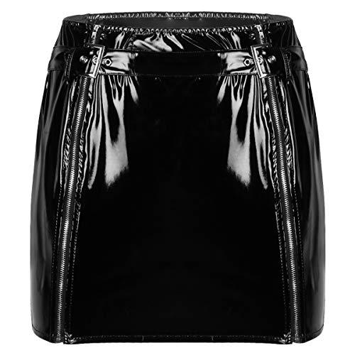 iixpin Damen Figurbetonter Rock Minirock Lackleder Röckchen tretch Schmal mit Reißverschluss Frauen Latex Pencil Skirt Sexy GoGo Nachtclub Kostüm Schwarz XL
