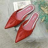 COQUI Zapatillas casa Hombre Bota,Estilo Coreano para Mujer, Medias Zapatillas Puntiagudas, Ropa Exterior de Moda, Zapatillas Casuales, Sandalias de Punta Plegable-Rojo_36