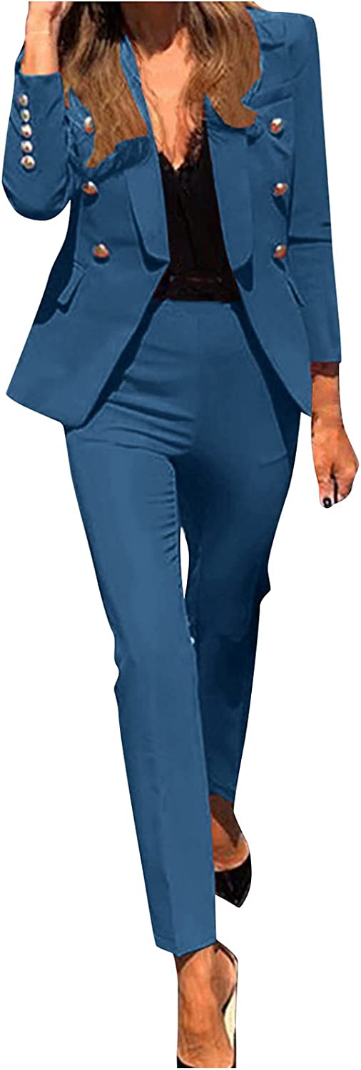 Women's Business Blazer Suits Solid Color Work Pants Button Pocket Coat Set for Office Lady Elegant Two Piece Outfits