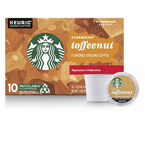Starbucks Medium Roast K-Cup Coffee Pods — Toffeenut for Keurig Brewers — 1 box (10 pods total)