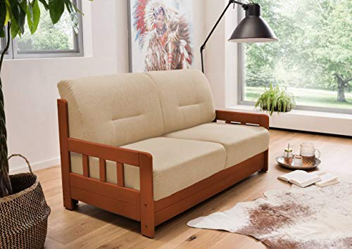 lifestyle4living Schlafsofa in Beige/Braun zum Ausziehen - 2 Liegeflächen   Microfaser/Massivholz/Federkern   Gemütliches Sofa mit Schlaffunktion im Landhausstil