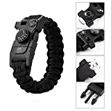 XUANTAI Military Outdoor Paracord Survival Bracelet Compass Thermometer,Whistle,Parachute Rope,Dragsaw,Fire Starter Kit for Hiking Travelling Camping Hiking Hunting (Black)