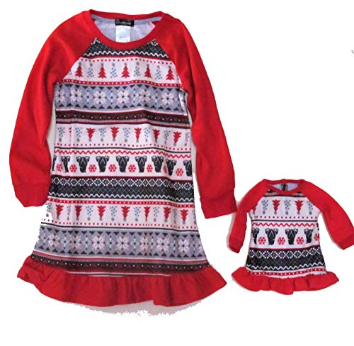 Cuddl Duds Jammies for Your Families Polar Bear Fairisle Girl's Nightgown & Doll Gown Set (4/5) Red