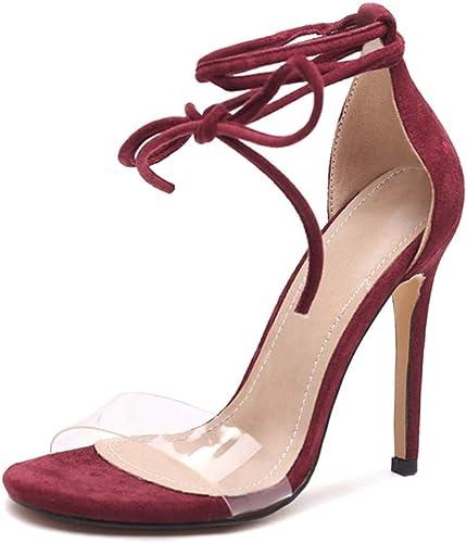 Sandales à Talons Hauts en Daim d'une d'une Seule pièce, Bout Ouvert, Talon Simple, 8.5cm A ++ (Couleur   violet, Taille   36donglu)