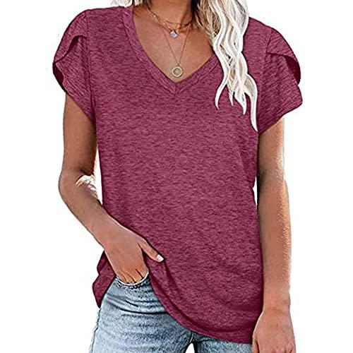 Camiseta de manga larga de color liso con cuello en V y mangas sueltas para primavera y verano. morado S