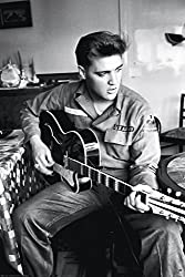 Image: Elvis Presley Guitar - Army Uniform 24x36 Art Print Poster, by Studio