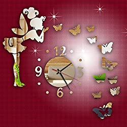 HXWJ 15.7×23.6 Modern Style Butterfly Fairy DIY Mirror Wall Clock - Easy to Read & Install Decorative for Kitchen, Living Room, Bathroom, Bedroom, Office (A)