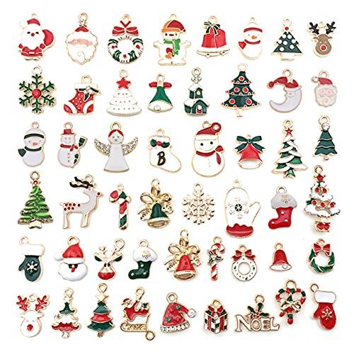 KJFSTJHMM 50 piezas colgante de Navidad, esmalte chapado en oro, copo de nieve, muñeco de nieve de Papá Noel y alce, accesorios de bricolaje para hacer joyas suministros de manualidades