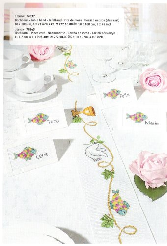 Rico Design 1,0x1,80m Tischdeckenstoff Davos mit Blätter-Aida-Feld zum Besticken