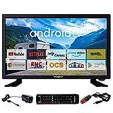 ANTARION TV LED 22' 55cm Téléviseur Full HD Android Bluetooth Smart TV Camping Car