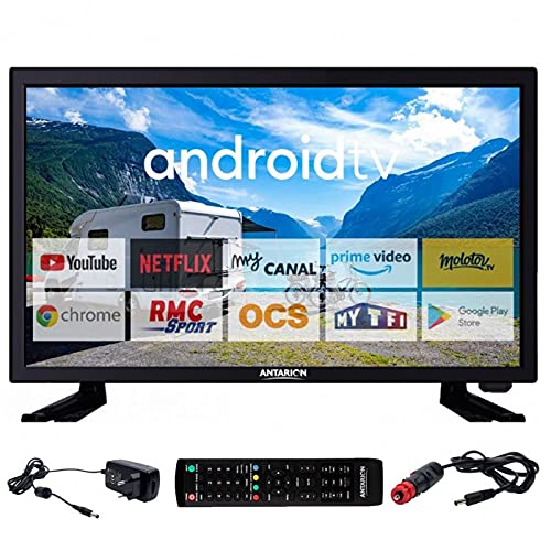ANTARION TV LED 19' 48cm Téléviseur HD Bluetooth Android 9.0 Camping Car