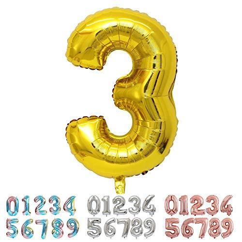 Ponmoo Foil Globo Número 3 Dorado, Gigante Numeros 0 1 2 3 4 5 6 7 8 9 10 11 a 19 20 a 29 30 40 50 60 70 80 90 100, Helio Globos para La Boda Aniversario, Globo de Cumpleaños Fiesta Decoración