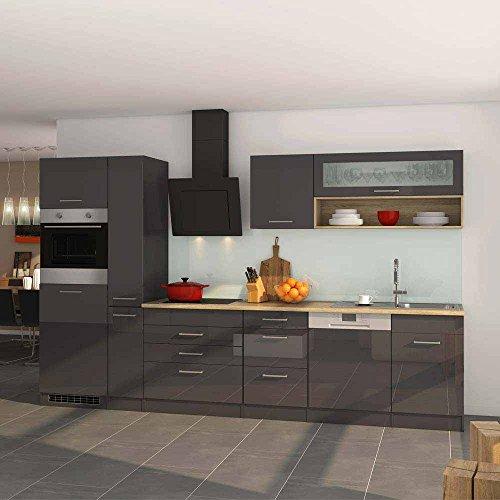 Pharao24 Hochglanz Küchenblock in Grau Eiche Sonoma E-Geräte