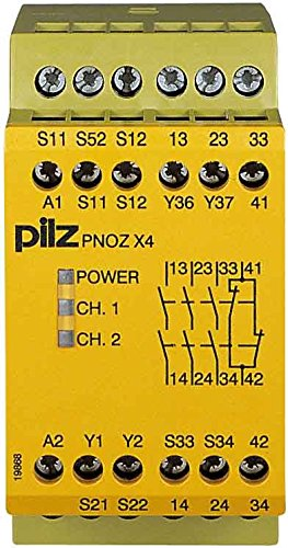Pilz Not-Aus-Schaltgerät PNOZ X4#774730 24VDC 3n/o 1n/c PNOZ X Gerät zur Überwachung von sicherheitsgerichteten Stromkreisen 4046548010428