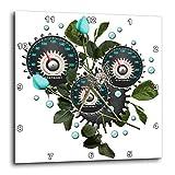 3dRose Cool Steampunk Barometer and Aqua Roses - Wall Clock, 10 by 10-Inch (DPP_102671_1)