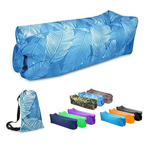 JSVER Sofa Hinchable del Aire del Ocioso de con el Paquete Portable para Viajar, Acampar, Senderismo, Piscina y Partidos de la Playa (Pluma)