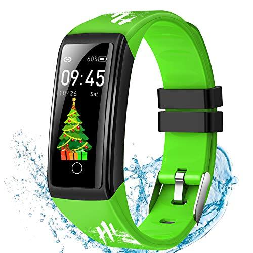 DUODUOGO Smartwatch, Impermeable IP67 Pulsera Inteligente con Pulsómetro, Blood Pressure, Sueño, Podómetro, Pulsera Deporte para Android y iOS Teléfono móvil para Hombres Mujeres Niños Verde