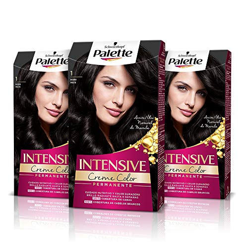 Schwarzkopf Palette Intensive Creme Color - Tono 1 cabello Negro (Pack de 3) - Coloración Permanente de Cuidado con Aceite de Marula – Perfecta cobertura de canas – Color duradero hasta 8 semanas