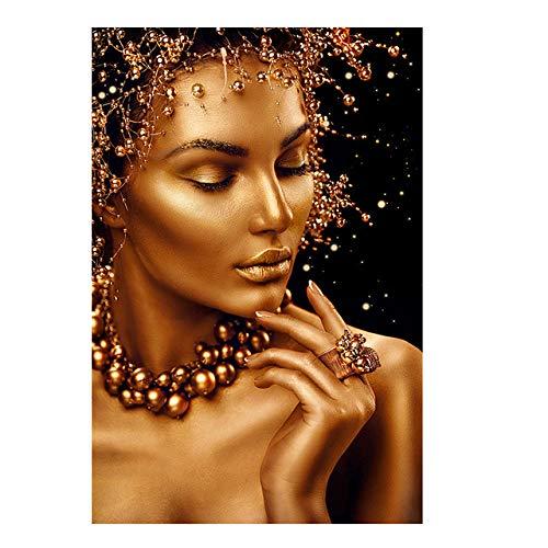 mmzki Regalos del día de San Valentín para Ella y Retrato Arte Africano Mujer Negra y Dorada Pintura al óleo sobre Lienzo Carteles Impresiones Arte de la Pared Imagen para la Sala Cuadros No Frame