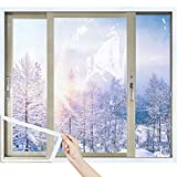 MAGZO Adjustable TPU Window Insulation Kit, 39 x 86 Inch Durable TPU Window Insulator Kit with Full Frame Heavy Duty Fit Any Smaller Size Thermal Insulated Plastic Film Kit Transparent