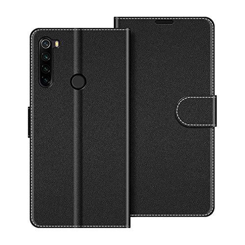 COODIO Handyhülle für Xiaomi Redmi Note 8T Handy Hülle, Xiaomi Redmi Note 8T Hülle Leder Handytasche für Xiaomi Redmi Note 8T Klapphülle Tasche, Schwarz