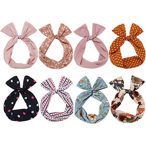 Sea Team Twist Bow - Diademas con cable - Bufanda - Abrigo para el pelo - Accesorio para el cabello (8 paquetes)