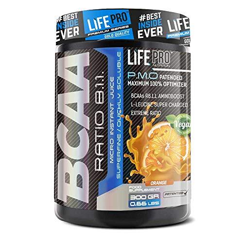 Life Pro BCAA Pro 8:1:1 Ajinomoto 300 gramos | Suplemento con Aminoácidos de Cadena Ramificada, Leucina, Valina e Isoleucina, Sabor Naranja