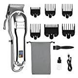 Canfill Men Hair Clipper, Cordless Professional Hair/Beard Trimmers Rechargeable Electric Barbers Grooming Kit with LED Display- 6 Guide Combs for Home Outside Use