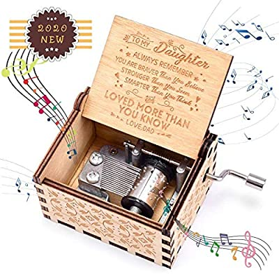 fezlens Music Box You are My Sunshine Wood Hand Crank Musical Box Mechanism Antique Vintage Musical Gifts to Daughter for Birthday/Christmas/Valentine's Day/Thanksgiving Days Kid Toys