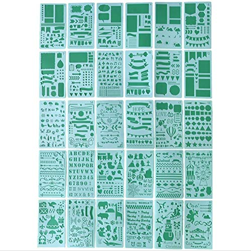 MRlegendary Plantillas De Pintura De Dibujo, Plantillas De Pintura De 30 Piezas Cuaderno/Diario/Libro De Recuerdos/Diario/Plantilla De Dibujo De Bricolaje Plantillas De Diario 4x7 Pulgadas