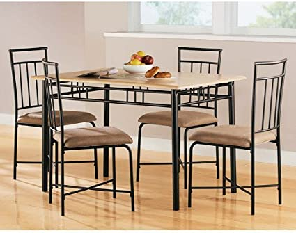 Amazon Com Mainstays 5 Piece Wood And Metal Dining Set Natural Table Chair Sets